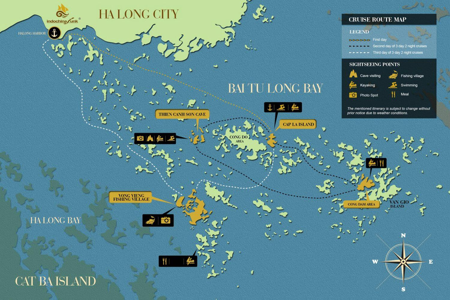 Indochina Junk cruising route