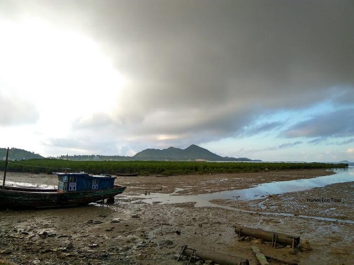 a boat docking low tide quan lan