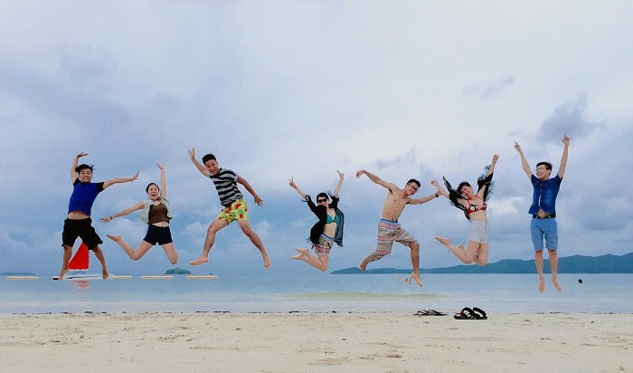 Hanging out on the beach in Thanh Lan island