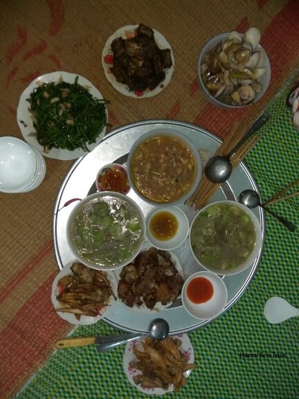 home cooked dinner local family quan lan