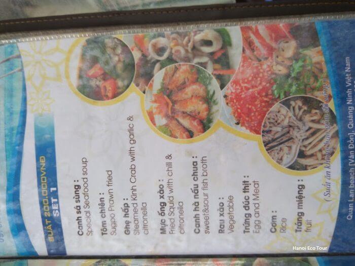 set menu restaurant quan lan