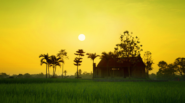 Sunset in Duong Lam village